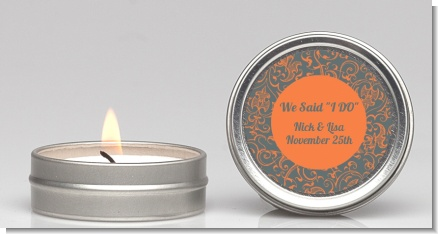 Grey & Orange - Bridal Shower Candle Favors