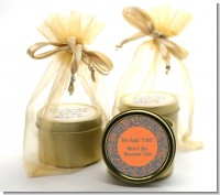 Grey & Orange - Bridal Shower Gold Tin Candle Favors