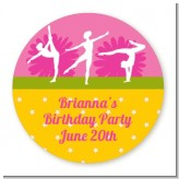 Gymnastics - Round Personalized Birthday Party Sticker Labels