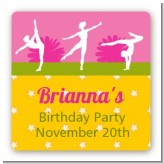 Gymnastics - Square Personalized Birthday Party Sticker Labels