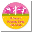 Gymnastics - Round Personalized Birthday Party Sticker Labels thumbnail