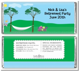 Hammock - Personalized Retirement Party Candy Bar Wrappers