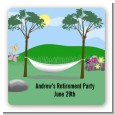 Hammock - Square Personalized Retirement Party Sticker Labels thumbnail