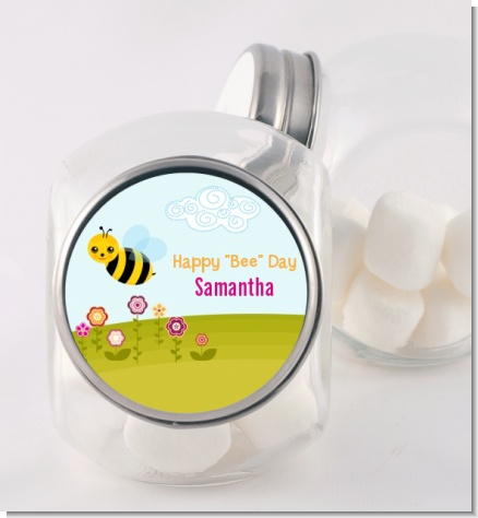 Happy Bee Day - Personalized Birthday Party Candy Jar
