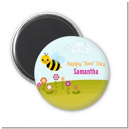Happy Bee Day - Personalized Birthday Party Magnet Favors