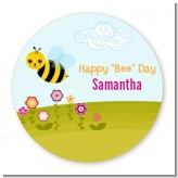Happy Bee Day - Round Personalized Birthday Party Sticker Labels