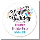 Happy Birthday - Round Personalized Birthday Party Sticker Labels