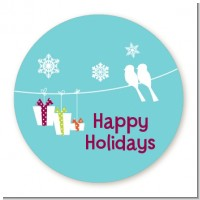 Happy Holidays on a String - Round Personalized Christmas Sticker Labels
