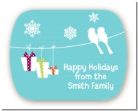 Happy Holidays on a String - Personalized Christmas Rounded Corner Stickers