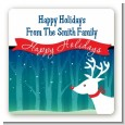 Happy Holidays Reindeer - Square Personalized Christmas Sticker Labels thumbnail