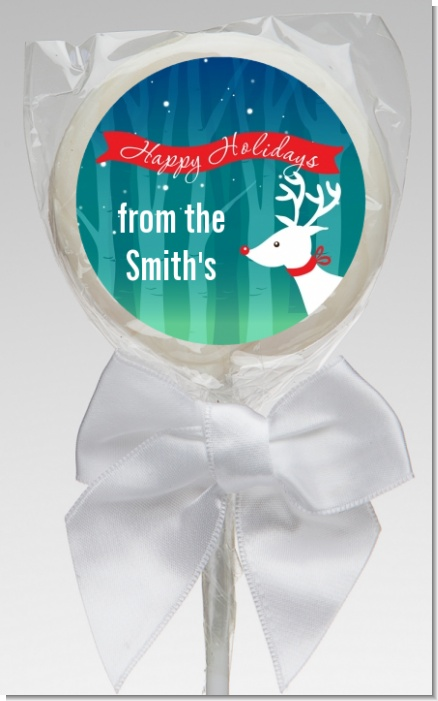Happy Holidays Reindeer - Personalized Christmas Lollipop Favors