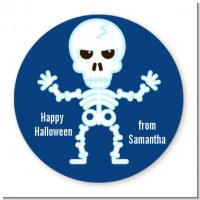 Happy Skeleton - Round Personalized Halloween Sticker Labels
