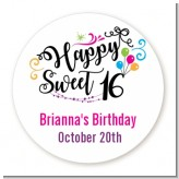Happy Sweet 16 - Round Personalized Birthday Party Sticker Labels