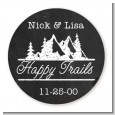 Happy Trails - Round Personalized Bridal Shower Sticker Labels thumbnail