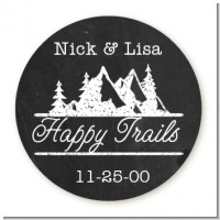 Happy Trails - Round Personalized Bridal Shower Sticker Labels