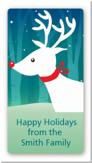 Happy Holidays Reindeer - Custom Rectangle Christmas Sticker/Labels