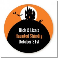 Haunted House - Round Personalized Halloween Sticker Labels