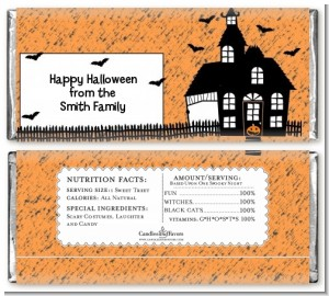 Haunted House with Bats - Personalized Halloween Candy Bar Wrappers