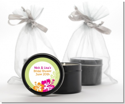 Hibiscus - Bridal Shower Black Candle Tin Favors