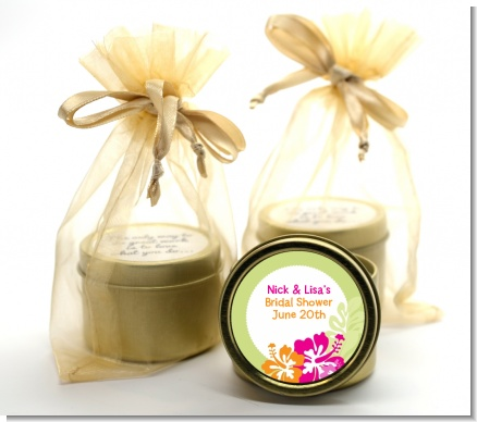 Hibiscus - Bridal Shower Gold Tin Candle Favors