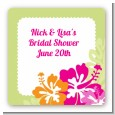 Hibiscus - Square Personalized Bridal Shower Sticker Labels thumbnail