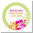 Hibiscus - Round Personalized Bridal Shower Sticker Labels thumbnail