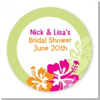 Hibiscus - Round Personalized Bridal Shower Sticker Labels