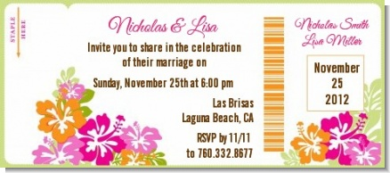 Hibiscus - Bridal Shower Destination Boarding Pass Invitations