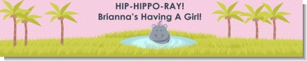 Hippopotamus Girl - Personalized Baby Shower Banners