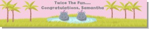 Twin Hippo Girls - Personalized Baby Shower Banners