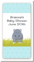 Hippopotamus Boy - Custom Rectangle Baby Shower Sticker/Labels