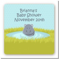 Hippopotamus Boy - Square Personalized Baby Shower Sticker Labels
