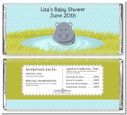 Hippopotamus Boy - Personalized Baby Shower Candy Bar Wrappers