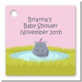 Hippopotamus Girl - Personalized Baby Shower Card Stock Favor Tags