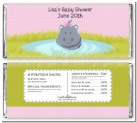Hippopotamus Girl - Personalized Baby Shower Candy Bar Wrappers
