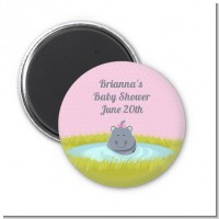 Hippopotamus Girl - Personalized Baby Shower Magnet Favors