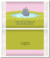 Hippopotamus Girl - Personalized Popcorn Wrapper Baby Shower Favors