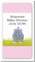 Hippopotamus Girl - Custom Rectangle Baby Shower Sticker/Labels