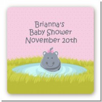 Hippopotamus Girl - Square Personalized Baby Shower Sticker Labels