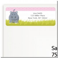 Hippopotamus Girl - Baby Shower Return Address Labels