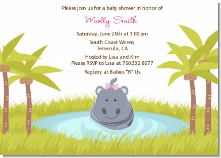 Hippopotamus Girl - Baby Shower Invitations