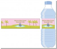 Hippopotamus Girl - Personalized Baby Shower Water Bottle Labels