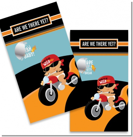 Motorcycle Hispanic Baby Boy - Baby Shower Scratch Off Game Tickets