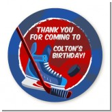 Hockey - Round Personalized Birthday Party Sticker Labels