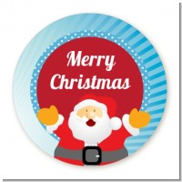 Ho Ho Ho Santa Claus - Round Personalized Christmas Sticker Labels