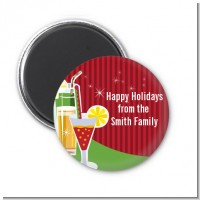 Holiday Cocktails - Personalized Christmas Magnet Favors