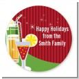 Holiday Cocktails - Round Personalized Christmas Sticker Labels thumbnail