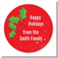 Holly - Round Personalized Christmas Sticker Labels thumbnail