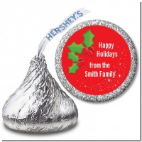 Holly - Hershey Kiss Christmas Sticker Labels
