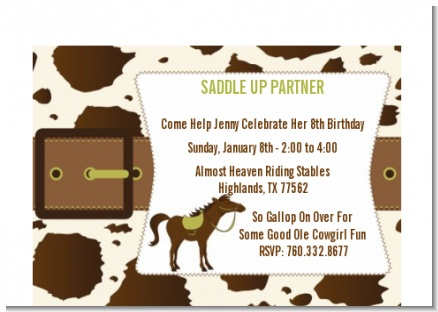 Horse - Birthday Party Petite Invitations